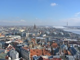 Riga in sunshine march day